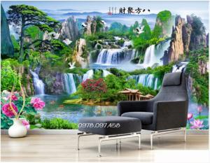 Tranh phong cảnh trang trí phòng khách mẫu sơn thủy hữu tình