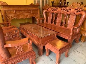 Bộ bàn ghế phòng khách tay 12 gỗ hương đá mặt liền tấm