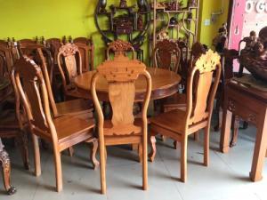 Bộ bàn ăn tròn có mâm xoay gỗ gõ đỏ 8 ghế giá rẻ