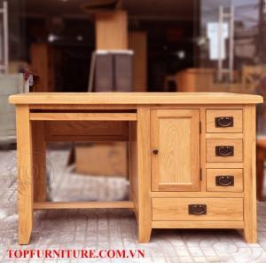 Bàn làm việc gỗ sồi mỹ 3 ngăn kéo có khay bàn phím TOP-SP059