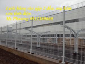 Lưới thép hàng rào gập đầu D4 a50x150, hàng mạ kẽm sơn tĩnh điện
