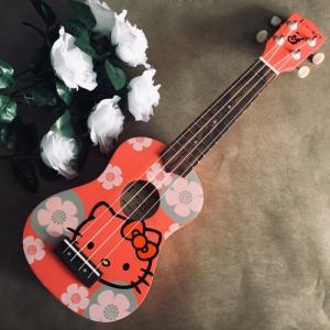 Đàn Ukulele Hello Kitty đỏ | Size soprano 21' chính hãng.