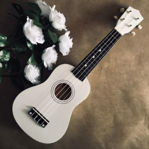 Đàn ukulele gỗ màu trắng | Size soprano 21' chính hãng.