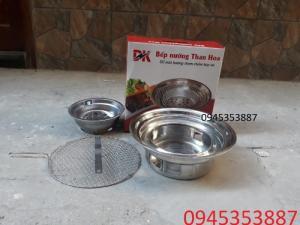Bếp nướng than hoa đặt âm bàn chất liệu inox dùng cho quán nướng