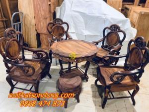 Bộ bàn ghế guột nho 7 món gỗ cẩm lai xịn 100%