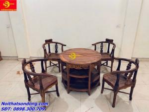 Bộ bàn ván nguyệt gỗ cẩm lai xịn 100%