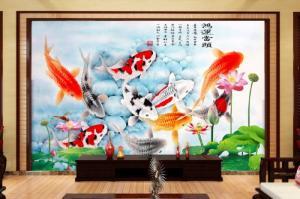 Bộ gạch tranh hoa sen và cá chép