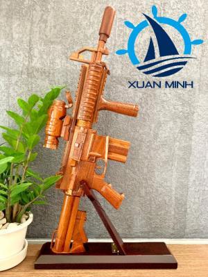 Mô Hình Súng Trường M4 Carbine Trang Trí - Gỗ Căm xe
