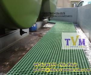 Nắp đậy trên bể xử lý nước thải ngăn mùi, sàn frp grating