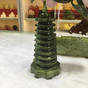 Tháp Văn Xương  đá lam ngọc (ngọc Serpentine) nguyên khối 14cm