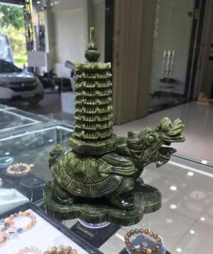 Long Quy cõng Tháp Văn Xương lam ngọc 9 tầng 22cm