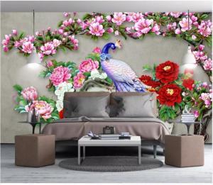 Tranh gạch 3D - chim công sắc màu