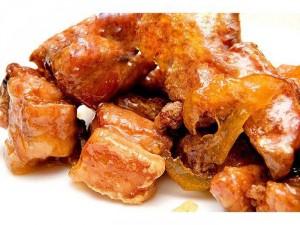 Combo : Sườn chiên sốt mật ong , cơm trắng, canh củ cải, bắp cải xào