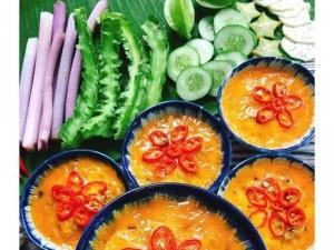 Combo : Mắm chưng thịt bằm , cơm trắng, canh củ cải, bắp cải xào