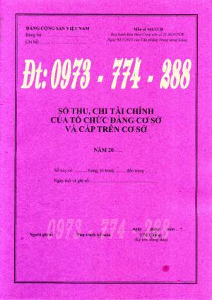 Mẫu sổ thu, chi tài chính của tổ chức đảng cơ sở và cấp trên cơ sở (Mẫu số S01/TCĐ)