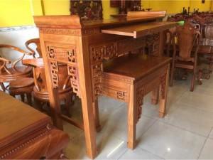 Bộ bàn thờ triện sen đẹp gỗ gõ đỏ giá hấp dẫn