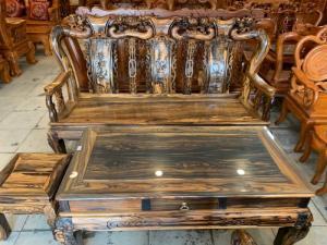 Bộ bàn ghế gỗ mun sọc cột 10, 6 món