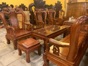 Bộ bàn ghế hương chạm đào 6 món giá rẻ