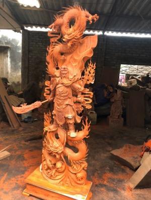 Tượng gỗ Quan Vân Trường ngự Long 1m8 _ Mỹ nghệ Âu Lạc