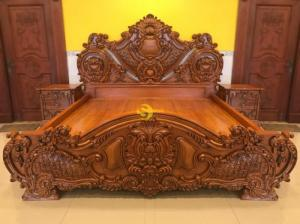 Giường ngủ tân cổ điển gỗ cao cấp hàng đẹp chạm sắc nét