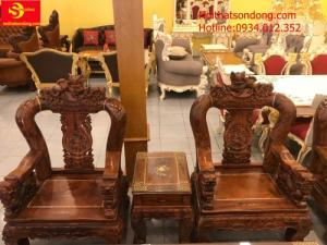 Bộ bàn ghế chạm nghê gỗ cẩm lai cột 14, 6 món