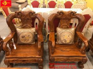 Bộ bàn ghế chạm đào gỗ cẩm lai 10 món