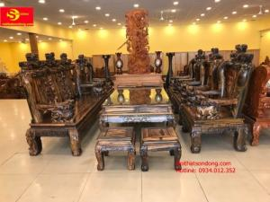 Bọ bàn ghế chạm kỳ lân gỗ mun sọc