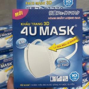 Khẩu trang 3D kháng khuẩn 4U MASK Công Nghệ Nhật Bản (hộp 10 cái)