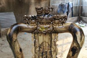 Bộ bàn ghế chạm kỳ lân gỗ mun tay 14 - 10 món giá tại xưởng