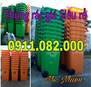 Phân phối thùng rác 240 lít giá rẻ quận 2 quận 3 quận 4- thùng rác nhựa nắp kín- lh 0911.082.000