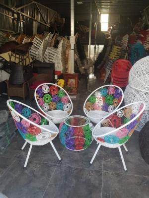 bàn ghế đồng tiền  mây nhựa giá tại xưởng sản xuất ANH KHOA 77773