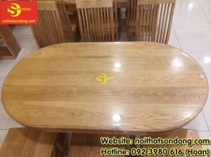 2020-04-01 10:15:22 Bàn ăn gỗ sồi oval 6 ghế giá rẻ 12,900,000