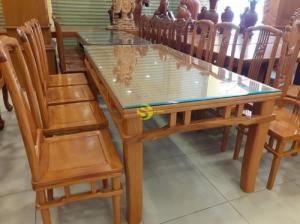 Bộ bàn ăn gõ đỏ khổng minh 8 ghế bàn vuông giá tại xưởng