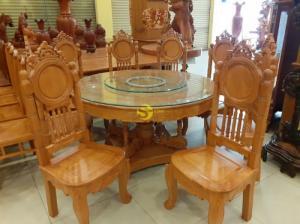 Bộ bàn ăn gõ đỏ 8 ghế mặt trời lá tây cổ điển nam bộ bàn tròn mâm xoay VIP