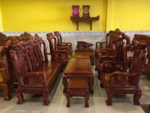 Bộ bàn ghế chạm đào gỗ cẩm lai tay 10 - siêu đẹp