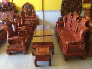 Bộ bàn ghế Tần Thủy Hoàng gỗ hương đá cột 12 vân siêu đẹp giá tốt