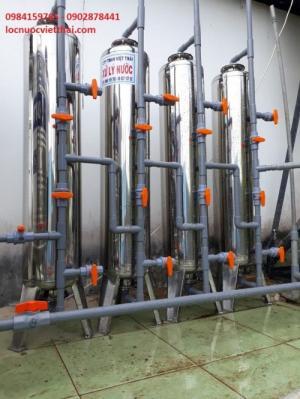 Máy lọc nước phèn giếng khoan với 4 cột lọc inox cho sinh hoạt
