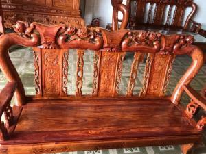Bộ bàn ghế phòng khách tay 10 gỗ tự nhiên cao cấp vân siêu đẹp