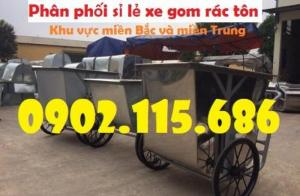 Xe chở rác bằng tôn 400L, 500L, xe thu gom rác bằng tôn, xe đẩy rác bằng tôn,