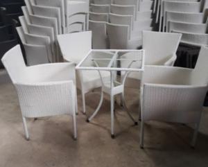bàn ghế  cafe mây nhựa mắt cáo giá tại xưởng sản xuất ANH KHOA 7784