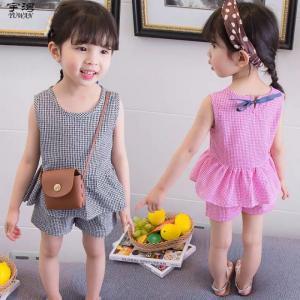 Bộ caro ngắn thời trang 2 mãnh bé gái đáng yêu