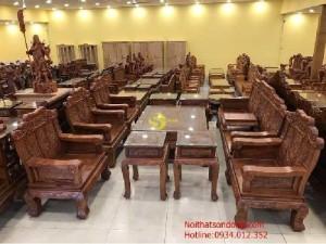 Bộ ghế kiểu voi gỗ hương lào 10 món