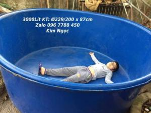 Bồn tròn 3000 lít làm hồ bơi