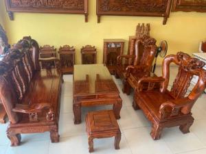 Bộ bàn ghế chạm đào gỗ hương loang tuyển chọn, tay 14, 6 mó