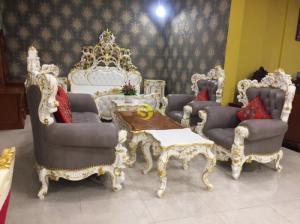 Bộ bàn ghế sofa victoria cổ điển dát vàng