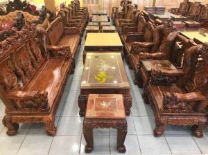 Bộ bàn ghế nghê đỉnh Cẩm lai cẩn ốc cột 14, 6 món