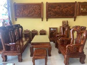 Bộ ghế gỗ hương cột 14, 6 món chạm đào