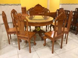 Bộ bàn ăn gõ đỏ tròn 8 ghế chạm hoa hồng