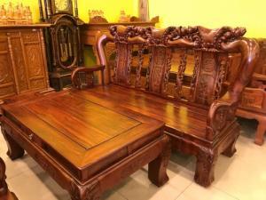 Bộ bàn ghế cột 14- gỗ hương loang vân tuyển chọn giá sốc tại quận 7