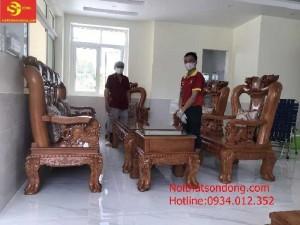 Bộ ghế chạm đào chất lươgcột 14, 10 món